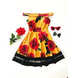 Rochie de zi ieftina galbena cu imprimeu floral si umerii goi