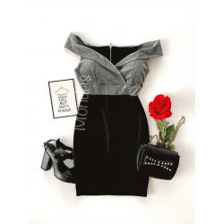 Rochie de seara ieftina stramta neagra cu corset argintiu stralucitor