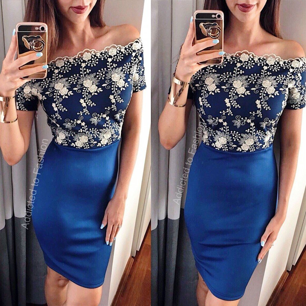 Rochie de seara scurta albastra cu broderie aurie