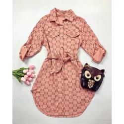 Rochie ieftina casual stil camasa roz si negru si cordon in talie