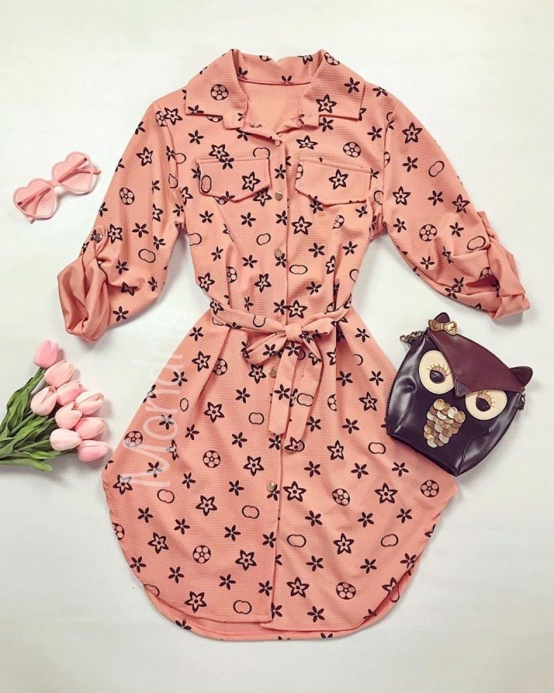 Rochie ieftina casual stil camasa roz si neagra cu stelute si cordon in talie