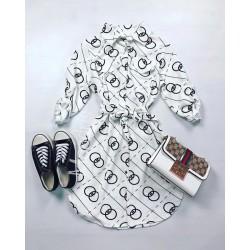 Rochie ieftina casual stil camasa alba si neagra cu cercuri si cordon in talie