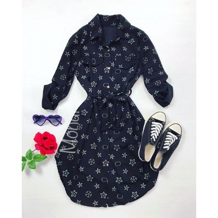 Rochie ieftina casual stil camasa negru si bleumarin cu stelute si cordon in talie