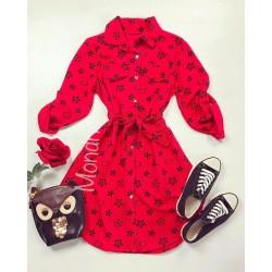 Rochie ieftina casual stil camasa rosu si negru cu stelute si cordon in talie