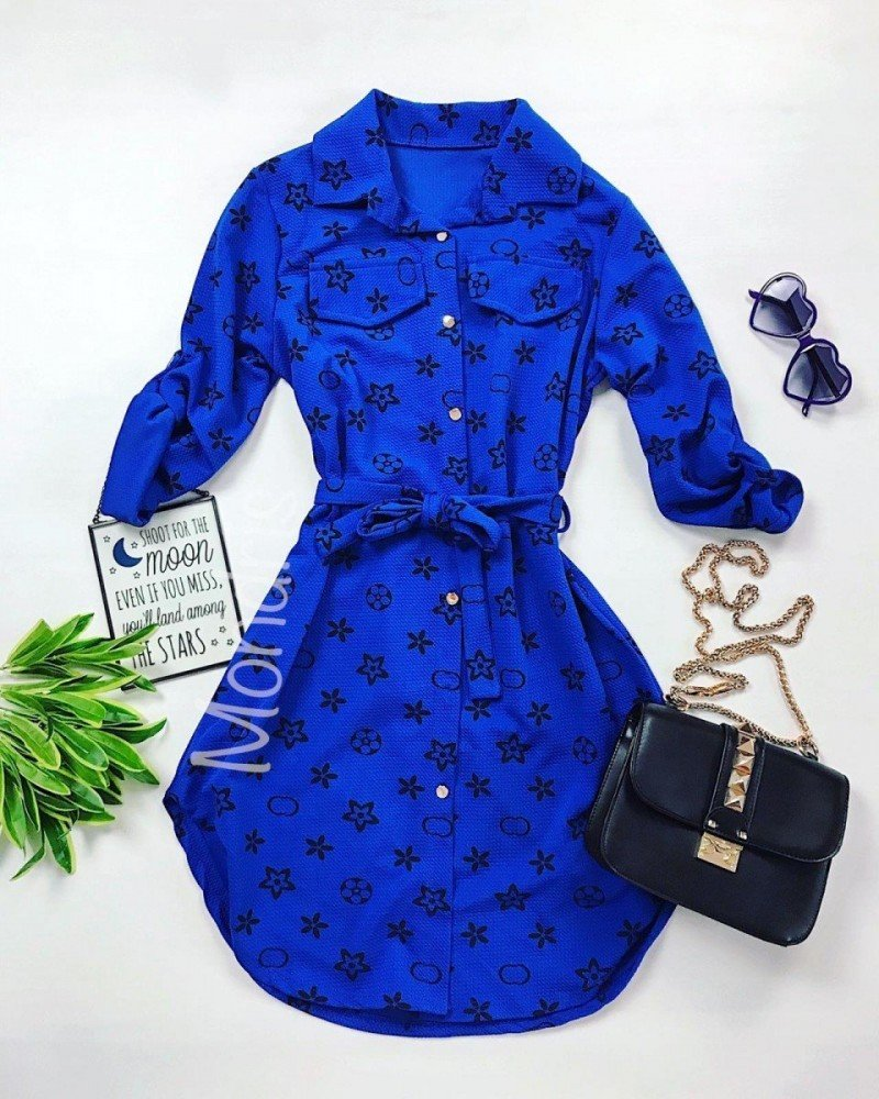 Rochie ieftina casual stil camasa albastru si negru cu stelute si cordon in talie