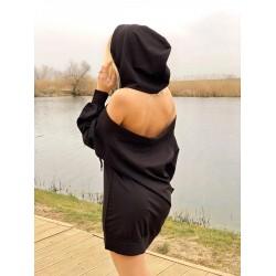 Rochie casual de zi neagra cu maneca lunga, gluga si umerii dezgoliti