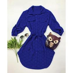 Rochie ieftina casual stil camasa albastra si negru si cordon in talie imprimeu zale