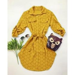 Rochie ieftina casual stil camasa galbena si negru si cordon in talie imprimeu zale