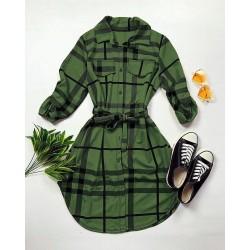 Rochie ieftina casual stil camasa khaki si neagra cu dungi si cordon in talie