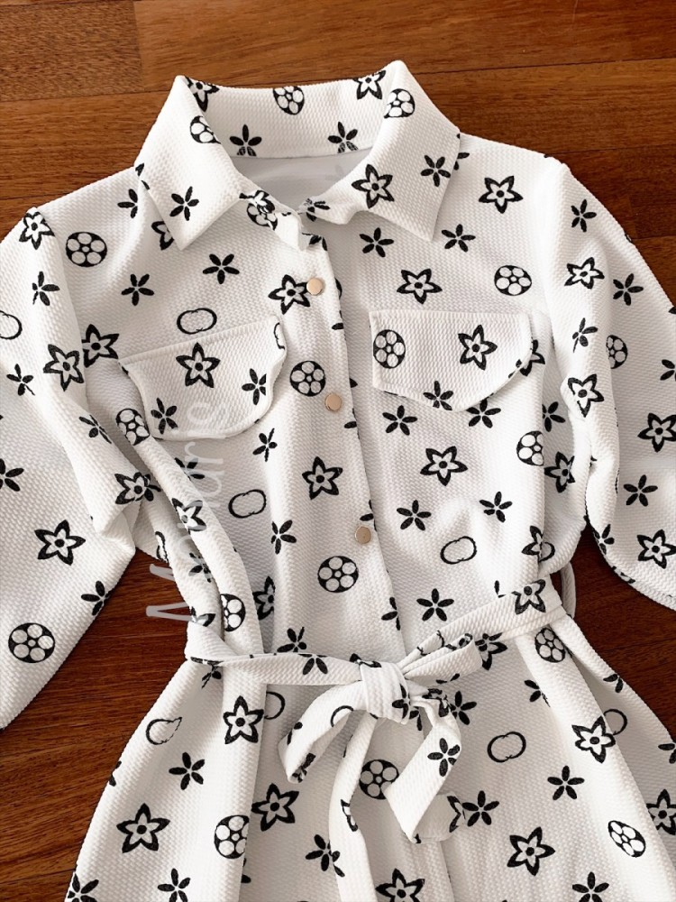 Rochie ieftina casual stil camasa alba cu stelute si cordon in talie