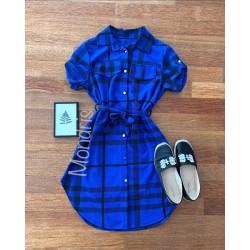 Rochie ieftina casual stil camasa albastra si neagra cu dungi si cordon in talie