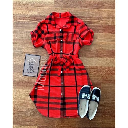 Rochie ieftina casual stil camasa rosie si neagra cu dungi si cordon in talie
