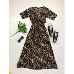 Rochie lunga casual de vara confortabila maro cu imprimeu animal print