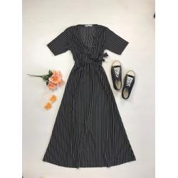 Rochie lunga casual de vara confortabila neagra cu imprimeu dungi albe