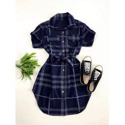 Rochie ieftina casual stil camasa bleumarin si neagra cu dungi si cordon in talie