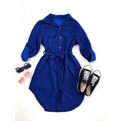 Rochie ieftina casual stil camasa albastra si neagra cu linii verticale si cordon in talie