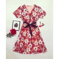 Rochie dama ieftina rosie de zi scurta lejera cu pliuri si imprimeu flori