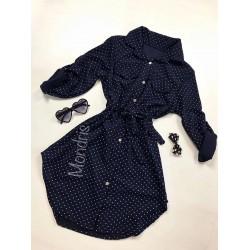 Rochie ieftina casual stil camasa bleumarin cu puncte si cordon in talie