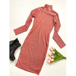 Rochie casual basic roz reiata cu maneca lunga tip maleta