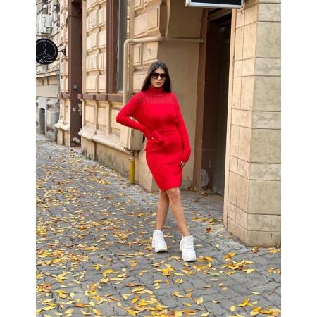 Rochie ieftina scurta din tricot rosie cu guler inalt si model impletit