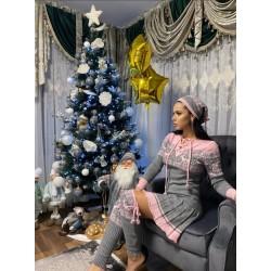 Rochie ieftina din tricot gri cu jambiere si caciula model Craciun