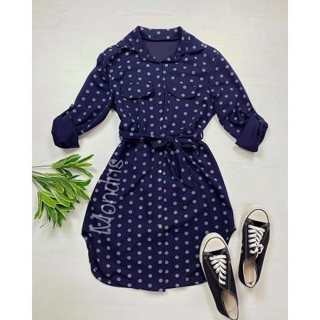 Rochie ieftina casual stil camasa bleumarin cu puncte mari si cordon in talie