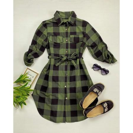 Rochie ieftina casual stil camasa khaki cu negru cu carouri si cordon in talie