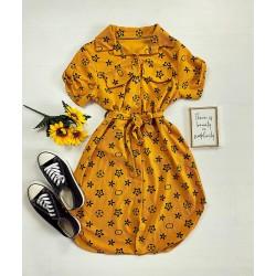 Rochie ieftina casual stil camasa galbena si neagra cu stelute si cordon in talie