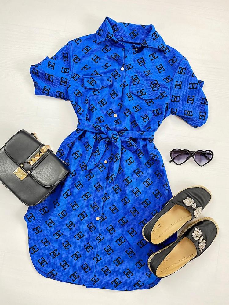Rochie ieftina casual stil camasa albastra si neagra cu cc si cordon in talie