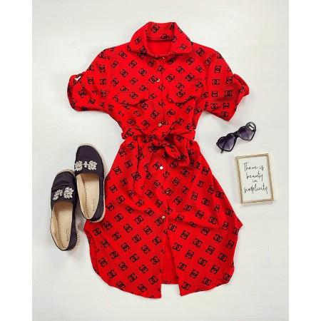 Rochie ieftina casual stil camasa rosie si neagra cu cc si cordon in talie