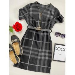 Rochie casual tip camasa neagra scurta stramta in dungi + curea CADOU