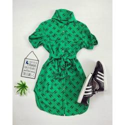 Rochie ieftina casual stil camasa verde si neagra cu cc si cordon in talie
