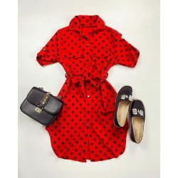 Rochie ieftina casual stil camasa rosie si neagra cu stelute noi si cordon in talie