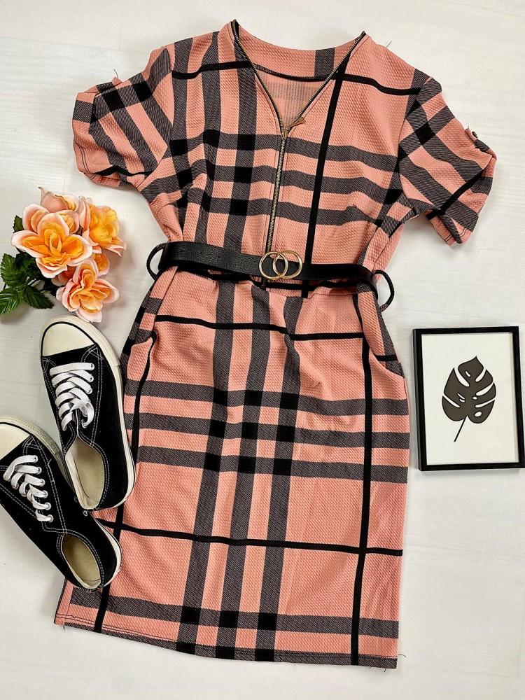 Rochie casual tip camasa roz scurta stramta in dungi + curea CADOU