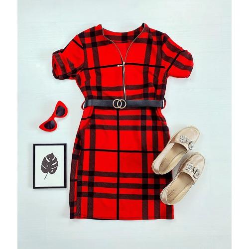 Rochie casual tip camasa rosie scurta stramta in dungi + curea CADOU