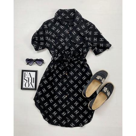 Rochie ieftina casual stil camasa neagra cu cc si cordon in talie