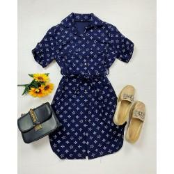Rochie ieftina casual stil camasa albastra si neagra cu stelute noi si cordon in talie