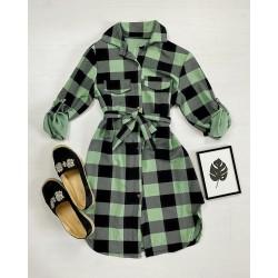 Rochie ieftina casual stil camasa verde deschis cu negru cu carouri si cordon in talie