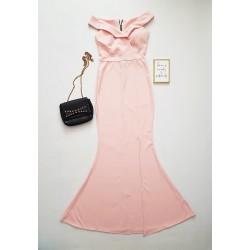 Rochie eleganta de ocazie roz lunga cu umerii goi