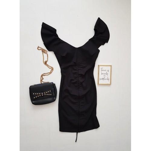 Rochie dama ieftina casual neagra cu snur pe mijloc