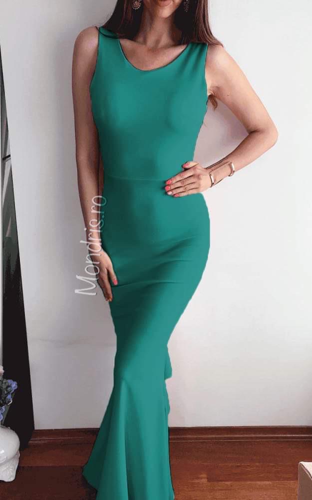 Rochie de ocazie lunga verde cu funda la spate