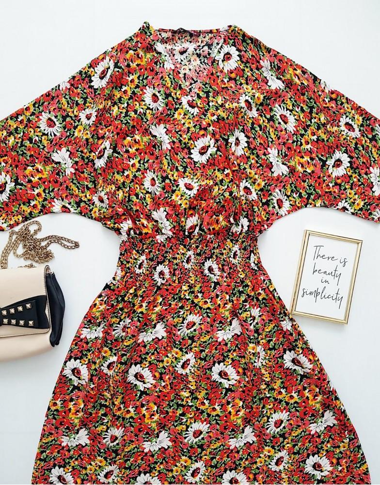 Rochie de zi ieftina rosie cu imprimeu floral si elastic lat in talie