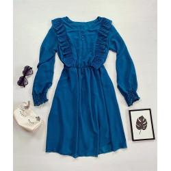 Rochie casual lejera culoare albastru cu maneci lungi si decolteu cu volanase si nasturi