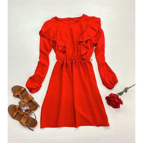 Rochie casual lejera culoare rosu cu maneci lungi si umeri cu volanase