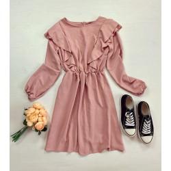Rochie casual lejera culoare roz cu maneci lungi si umeri cu volanase