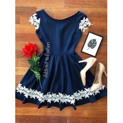 Rochie eleganta scurta albastra in forma cloche