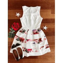 Rochie de zi scurta alba fara maneci cu imprimeu floral