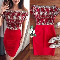 Rochie de ocazie scurta stramta rosie cu corset brodat