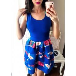 Rochie de zi scurta albastra fara maneci cu imprimeu floral