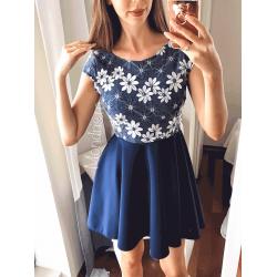 Rochie de ocazie scurta bleumarin cu corset brodat cu flori